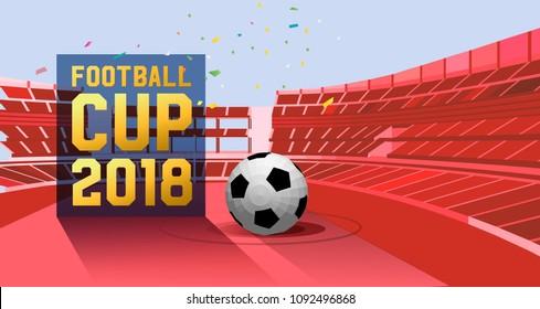 football cup 2018. football stadium championship background illustration