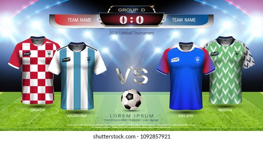 Football cup 2018 team group D, World championship tournament in Russian, Soccer jersey mock-up with scoreboard match vs strategy broadcast graphic template, For presentation score or game results.