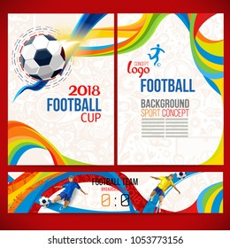 Football cup. 2018 world championship. Background concept of player with football ball around ethnic symbols. Champion soccer game. Symbol sport cup.
