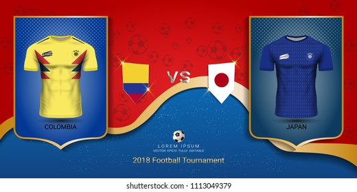 d2d524d72 Football cup 2018 World championship template, Colombia VS Japan, National  team soccer jersey uniforms