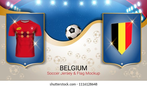 Football cup 2018 World championship template, Belgium team soccer jersey uniforms with the flag to reach quarter-finals, Russian red and blue trend background (EPS10 vector fully editable)