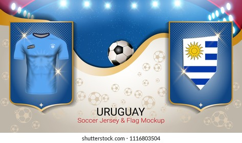 7b457a7c42d Football cup 2018 World championship template, Uruguay team soccer jersey  uniforms with the flag to