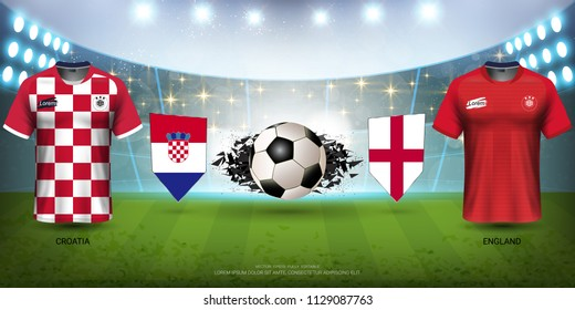 Football Cup 2018 World Championship Semi-Finals of the Competition, Croatia VS England, National Team Soccer Jersey Uniforms with Flag and Sport Field Illuminated by Spotlights (EPS10 Vector)