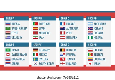 Football Cup group stage, world tournament table with all countries after the draw