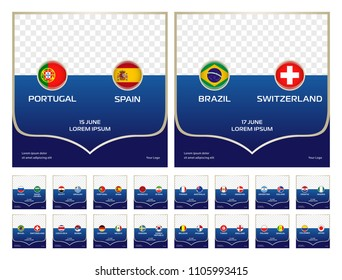 Football cup groups matches vector templates set, collection with country flags, names and match dates. Soccer world tournament, championship.