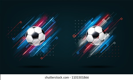 Football cup, soccer championship illustration set. Dynamic neon glowing lines isolated on black background. Realistic 3d ball. Holographic element for design cards, invitations, flyers,brochure