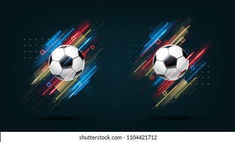 Football cup, soccer championship illustration set. Dynamic neon glowing lines isolated on black background. Realistic 3d ball. Holographic element for design cards, invitations, flyers, brochures.