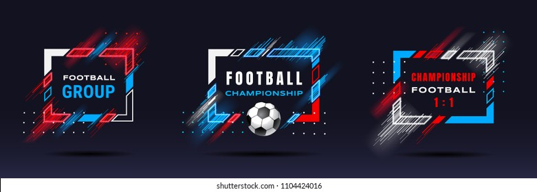 Football cup, soccer championship illustration. Vector frames with dynamic lines isolated on black background. Glitch effect. Holographic element for design cards, invitations, flyers, brochures.