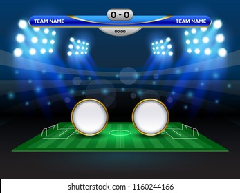 Football cup or World championship sport event, Soccer mock-up and scoreboard match vs strategy broadcast graphic template, For presentation score or game results.