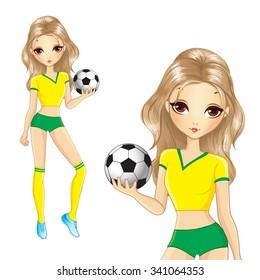 Football. Cute Brazilian soccer girl holding a ball