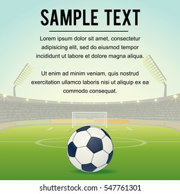 Football Design Background. Template with Soccer Ball on Stadium Field. Free Copy Space for Text. Vector Background