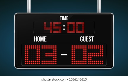 Football digital scoreboard with time and result display. Sport template for your design. Vector illustration.