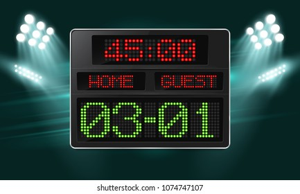 Football digital scoreboard with time and result display illuminated by spotlights. Sport template for your design. Vector illustration.