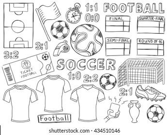 Football doodles set. Soccer pencil effect sketches. European football theme sport elements. France soccer. Football championship. Football doodles. Brazil football. Doodles set. Soccer doodles.