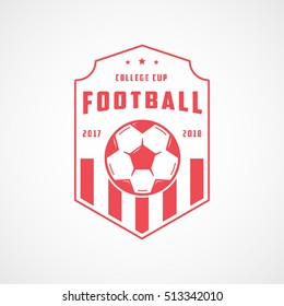 Football Emblem Red Line Icon On White Background