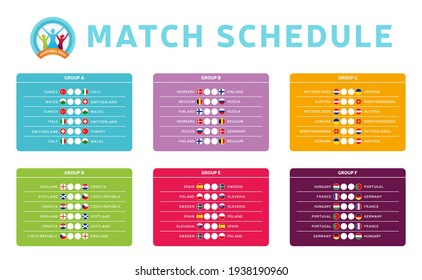 Football euro 2020 tournament final stage groups vector stock illustration with matches schedule. Euro 2020 European soccer tournament table with background. Vector country flags
