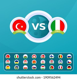 Football european euro 2020 2021 championship match versus teams intro sport background, championship competition final poster, flat style vector illustration. Set group stage country flag