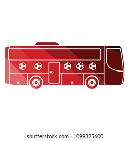 Football fan bus icon. Flat color design. Vector illustration.