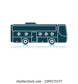 Football Fan Bus Icon. Shadow Reflection Design. Vector Illustration.