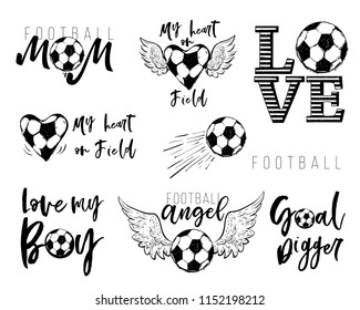 Football fan t-shirt design ыуе. Graphic black sketch with european football or soccer ball and text on white background. Vector illustration.