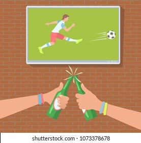 Football fans in the bar. Soccer fans watch the match on TV. Hands toasting with bottles of beer. Vector illustration EPS-8.