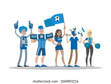 Football fans with blue. Team standing on white.