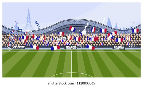 Football fans vector illustration. Match, field, bleacher, France. Soccer concept. Can be used for topics like world cup, championship, sport, fan club