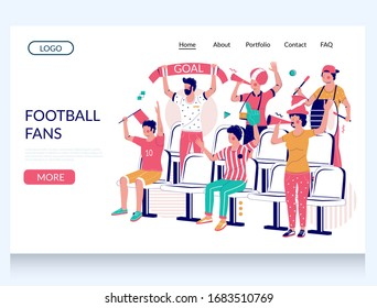 Football fans vector website template, landing page design for website and mobile site development. Group of people supporting their favorite team during football match at the stadium.