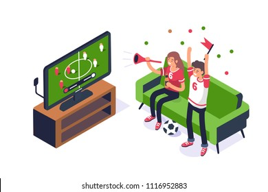 Football fans watching game on tv. Can use for web banner, infographics, hero images. Flat isometric vector illustration isolated on white background.