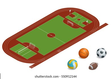 Football field, basketball court, volleyball court and Isometric Sports Balls Set. Illustration of a set of popular sports balls and bowls equipment.