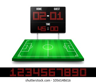 Football field and digital scoreboard with time and result display. Sport template for your design. Vector  illustration.