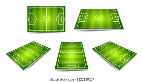 Football field set. Perspective and isometric view, isolated elements. Vector illustration.