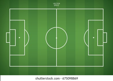 Football field or soccer field background. Vector green court for create game.