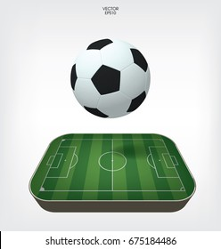 Football field or soccer field with ball background. Vector green court for soccer game.