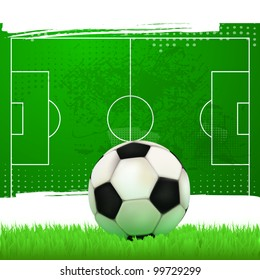 football field with soccer ball in vintage style