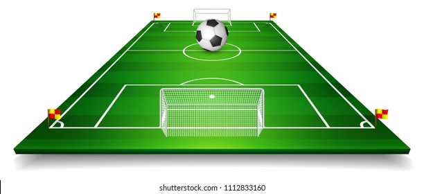 Football field, soccer field set with football ball. Perspective vector illustration. EPS 10.