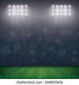 Football field or soccer field stadium background. Vector illustration.