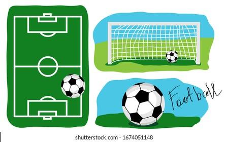 Fußball-Feld-Draufsicht. Der Ball auf dem Gras. Ein Tor mit einem Ball auf einem Teil eines Fußballfeldes. Cartoon Vektorillustration Illustration.