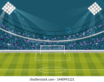 Football field Vector flat style. Soccer template brochure avatar. Supporters on background