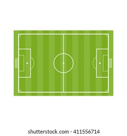 Football field. Vector Soccer field in flat style isolated on a white background