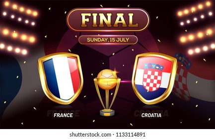 Football final match between France and Croatia background.