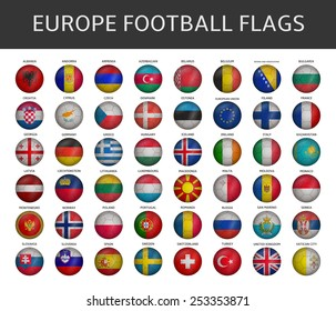 football flag of europe states vector set