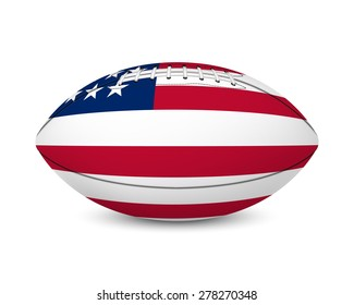 Football with flag of USA, isolated on white background. Vector EPS10 illustration.