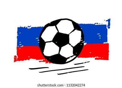 Football Flag Vector ball illustration Brush Sport Design