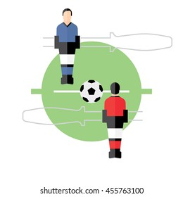 football, Foosball, table top game, soccer, flat illustration