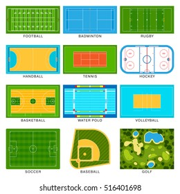 Football game field vector set ground line playground. Soccer green stadium background winner champion playground