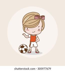 Football Girl / Lady / Woman Isolated Vector / Image / Illustration / Drawing / Cartoon / Animation