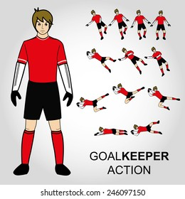 Football, Goal keeper action Vector illustration