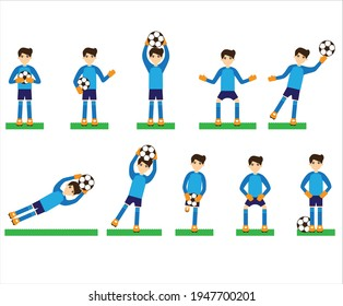 football goal keeper in different action and motion