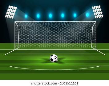 Football goal on a green field with a football. Vector
